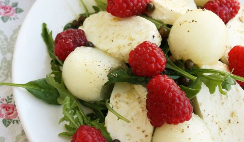 Mozzarella Melon Salad with Raspberries