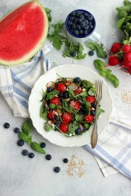 Watermelon Feta Salad with Blueberries