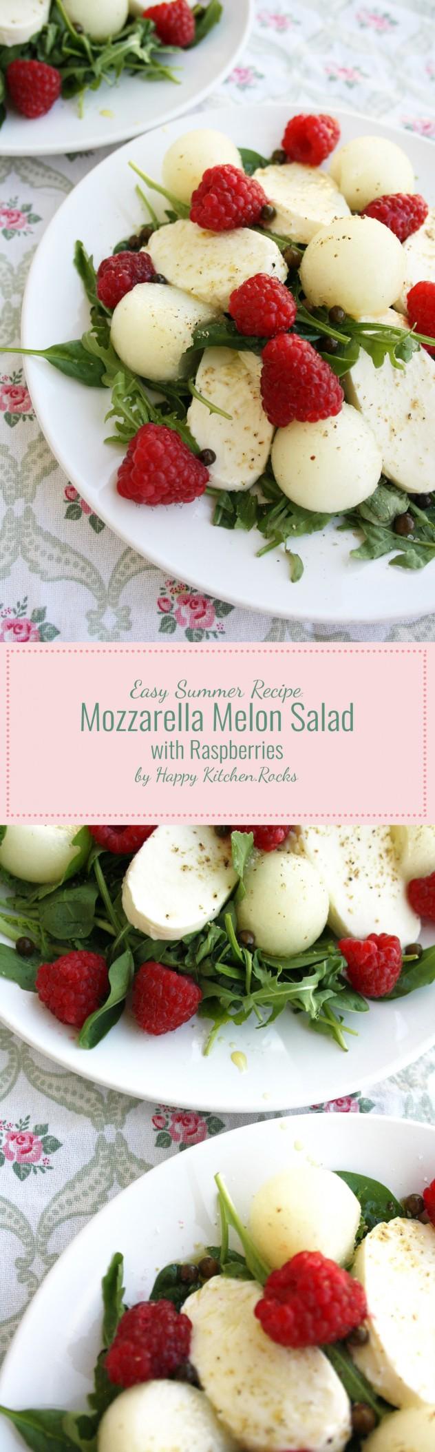 Mozzarella Melon Salad with Raspberries - a quick summer melon salad recipe with mozzarella, baby spinach, arugula and raspberries.