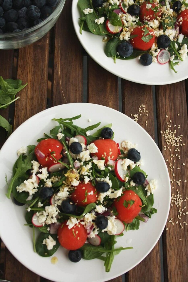 Refreshing Watermelon Feta Salad with Blueberries: A 15-min colorful summer salad recipe with Asian-style vinnaigrette. Perfect watermelon feta salad for a hot summer day!