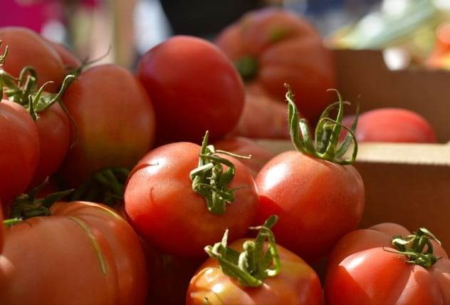 Tomatoes at the Farmers market. Did you know that tomatoes are a fruit not a vegetable. (Solanum lycopersicum)