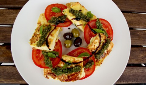 Greek Feta Saganaki Caprese Salad