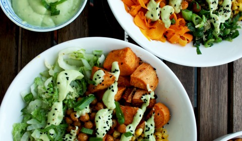 Healthy Veggie Bowls: Roasted and Stir Fried Veggies with Avocado Dressing