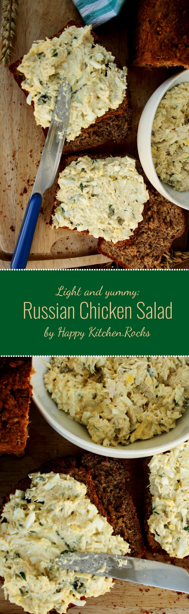Russian Salad Sandwich: made of chicken, eggs and pickled cucumber with a low-fat dressing. Perfect picnic or lunch meal you can make in just 10 minutes!