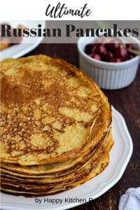 Russian Pancakes Recipe Pinterest Image
