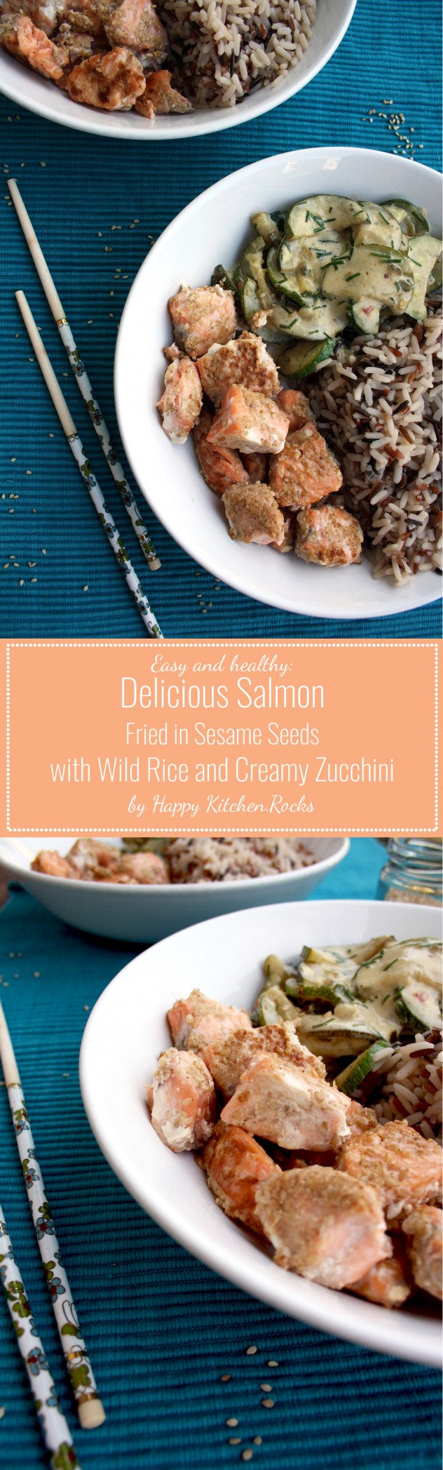 Sesame Salmon with Wild Rice and Creamy Zucchini: Easy to make and well-balanced 25 minutes Asian-style recipe. Low carb, gluten-free, healthy.