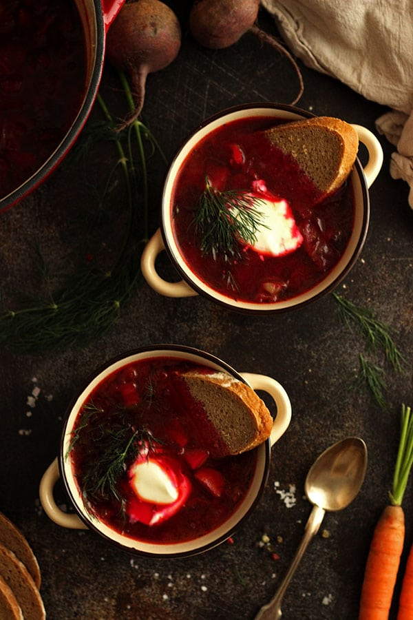 Borscht in Bowls with Bread