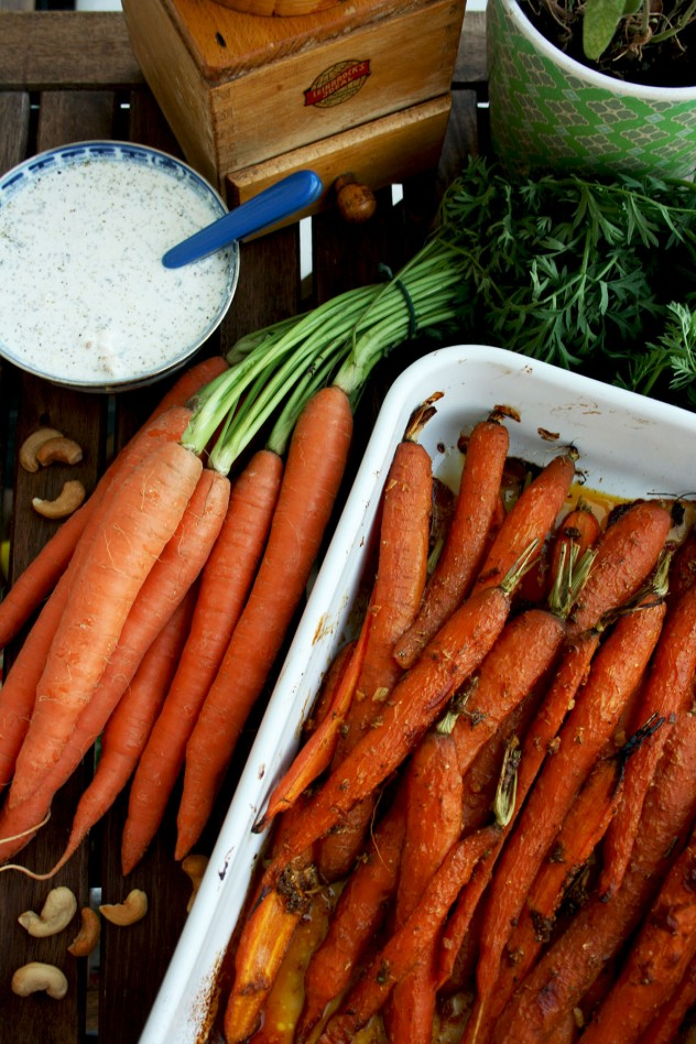 A new healthy way to enjoy carrots: Indian spiced roasted carrots with 5-minutes cashew feta dip. Flavorful, unusual and easy-to-make. Vegan recipe provided
