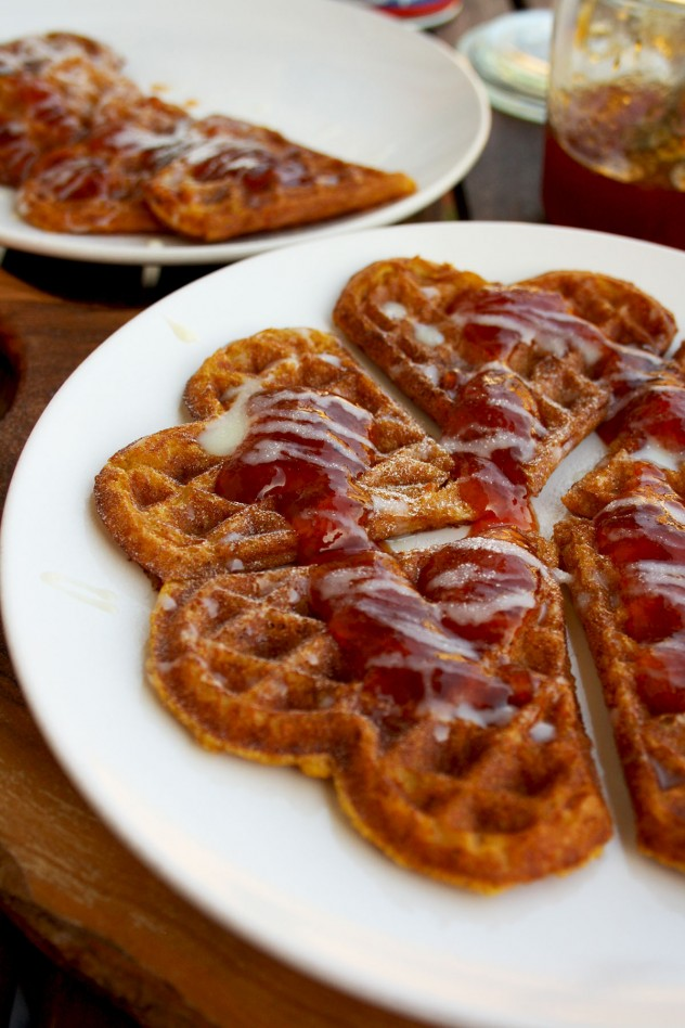 Delicious and low-caloric pumpkin waffles topped with condensed milk and prickly pear cactus jam. Great recipe for a fall brunch!