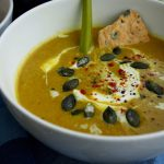 Vegan Pumpkin Leek Soup with Smoked Paprika and Homemade Spelt Crackers