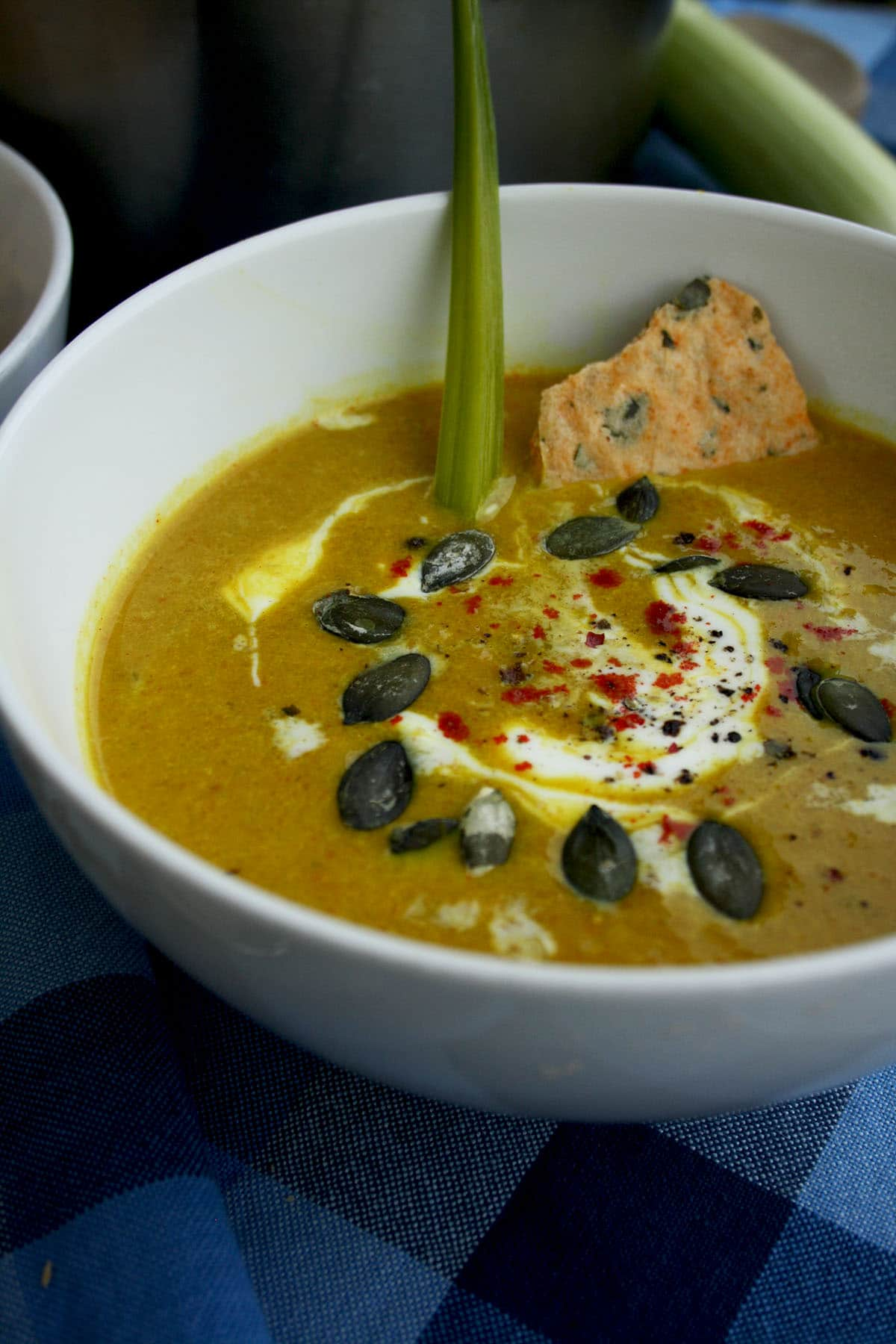 Vegan Pumpkin Leek Soup with Smoked Paprika and Homemade Spelt Crackers