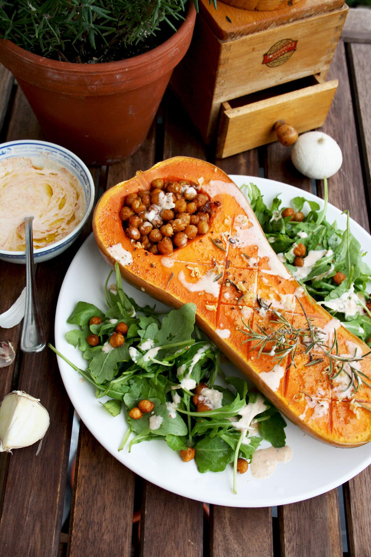 Roasted butternut squash with crunchy chick peas and smoked paprika tofu dip