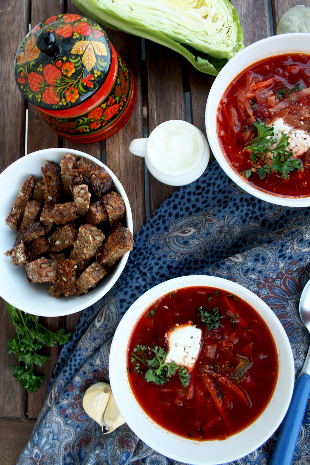 Easy and Healthy Russian-Ukrainian Borsch A thick vegetable soup, with red beet as the main ingredient, wholesome, flavorful, healthy and perfect for nasty autumn weather.