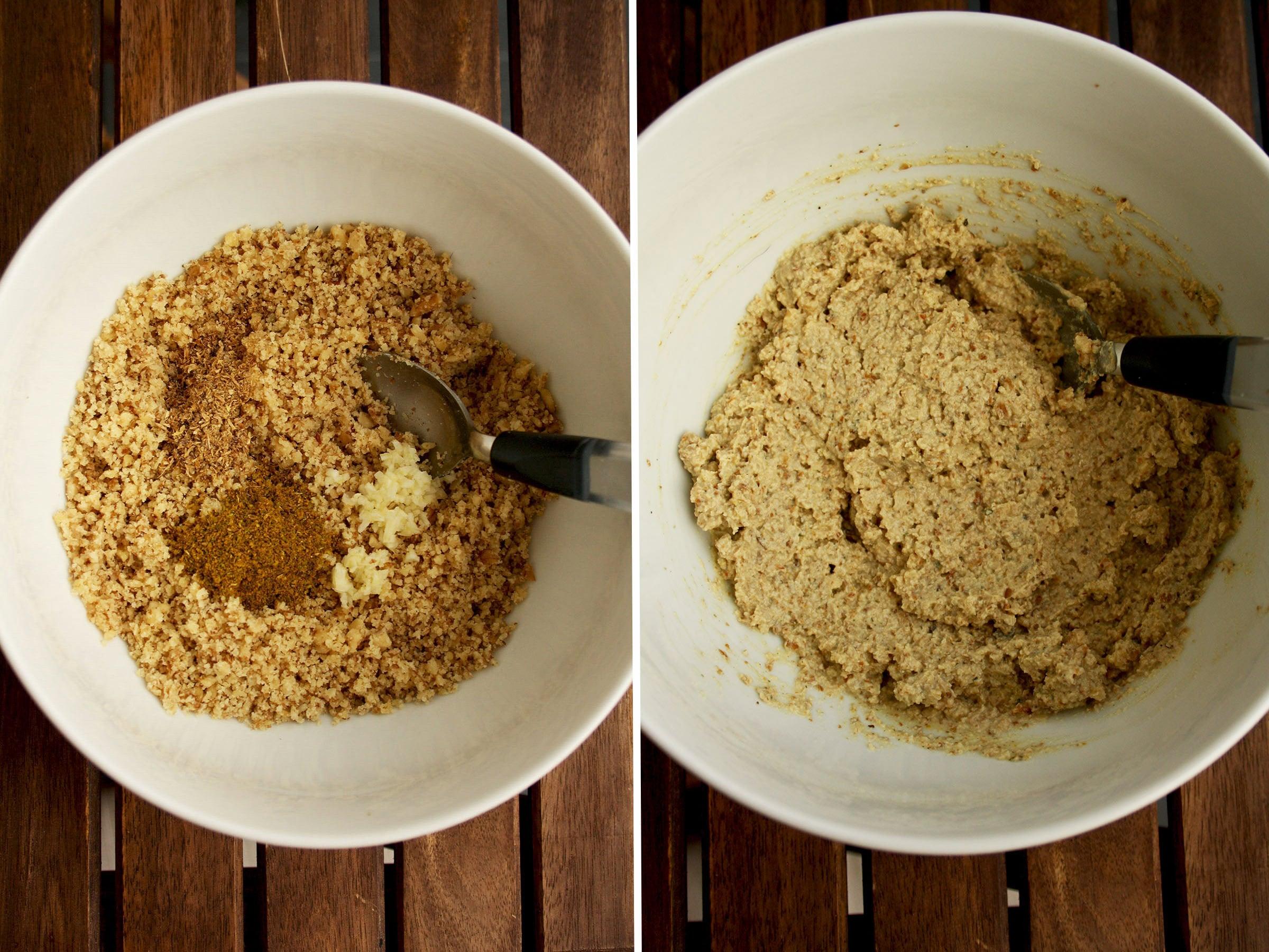 Process Shot of Making Walnut Filling for Eggplant Rolls.