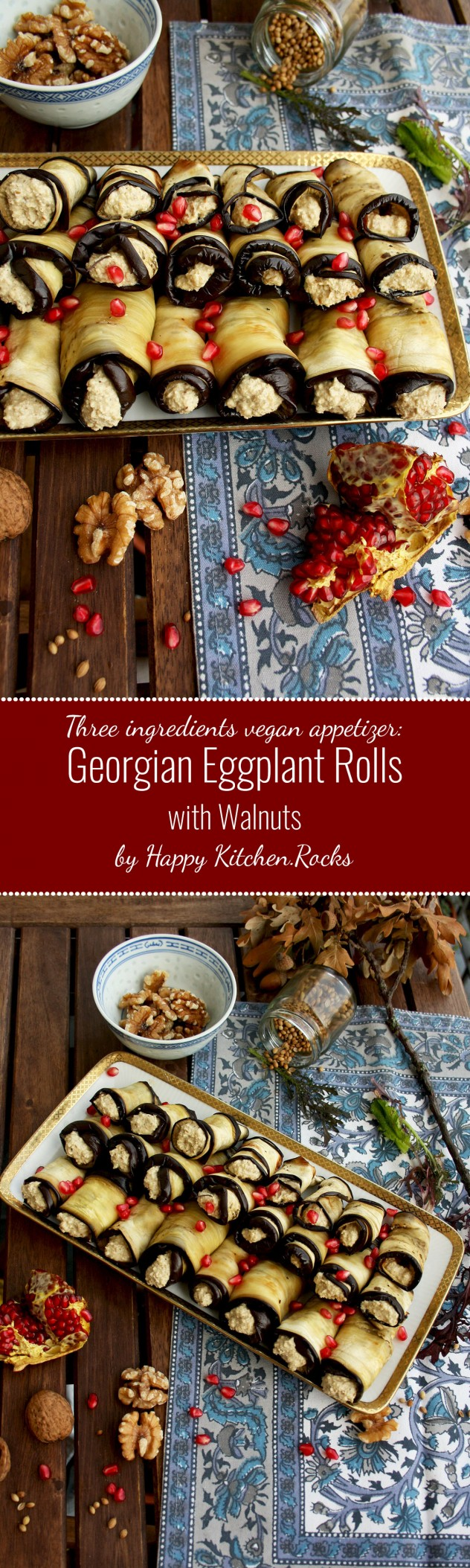 Easy and healthy vegan appetizer: Georgian Eggplant Rolls with Walnut Filling. You only need three ingredients and a bit of spices to make it!