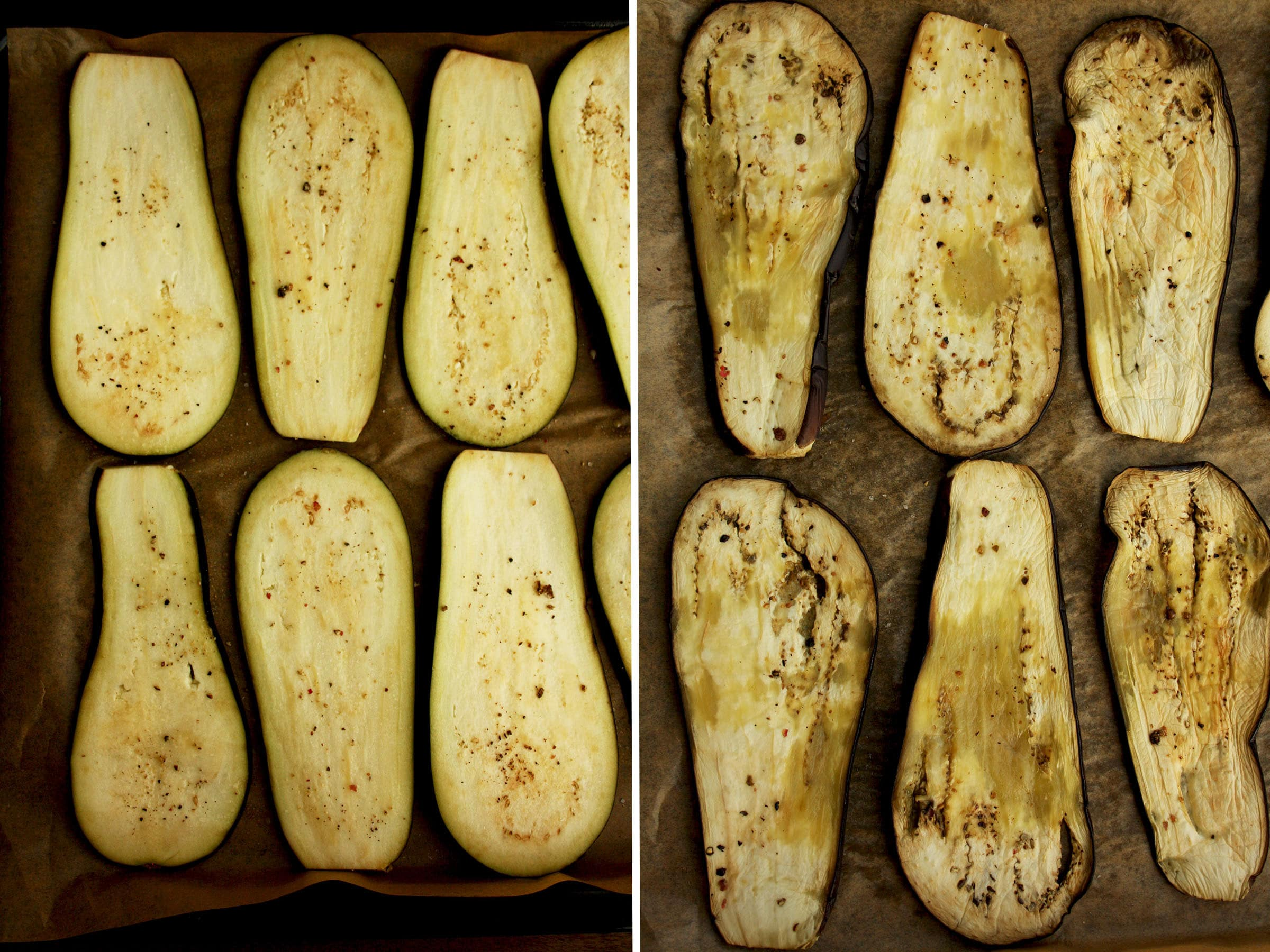 Process Shot of Baking Eggplants in the Oven.