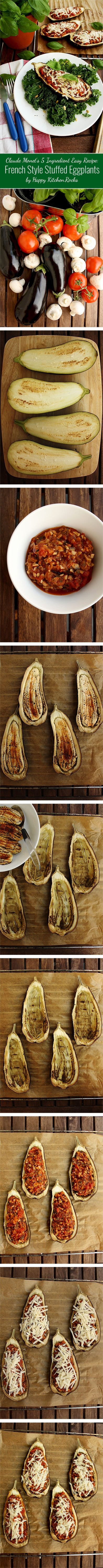 French Style Stuffed Eggplants: Claude Monet's 5 ingredient easy vegetarian recipe. Elegant and healthy gluten-free appetizer, perfect for lunch or dinner.