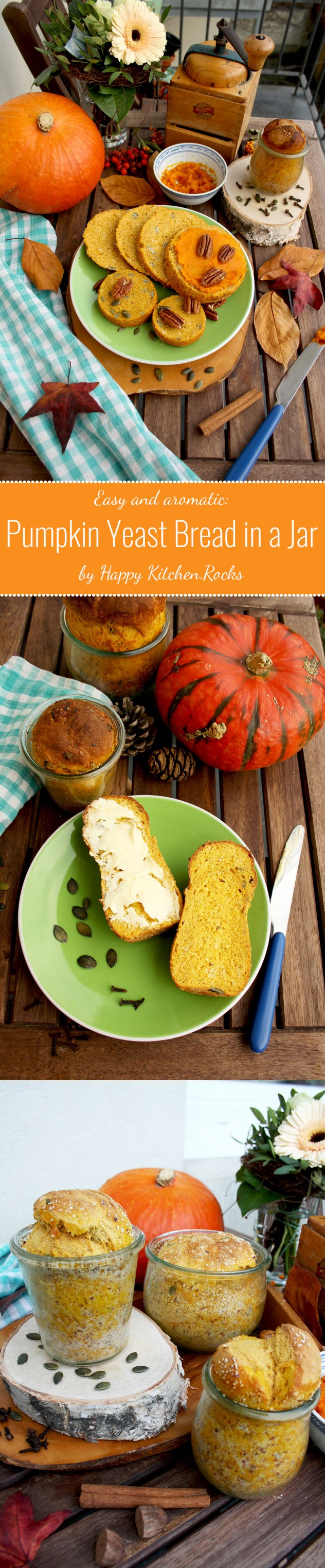 Pumpkin Yeast Bread in a Jar: easy and aromatic pumpkin bread that can be preserved for later. Great homemade gift idea for holidays for your loved ones! width=