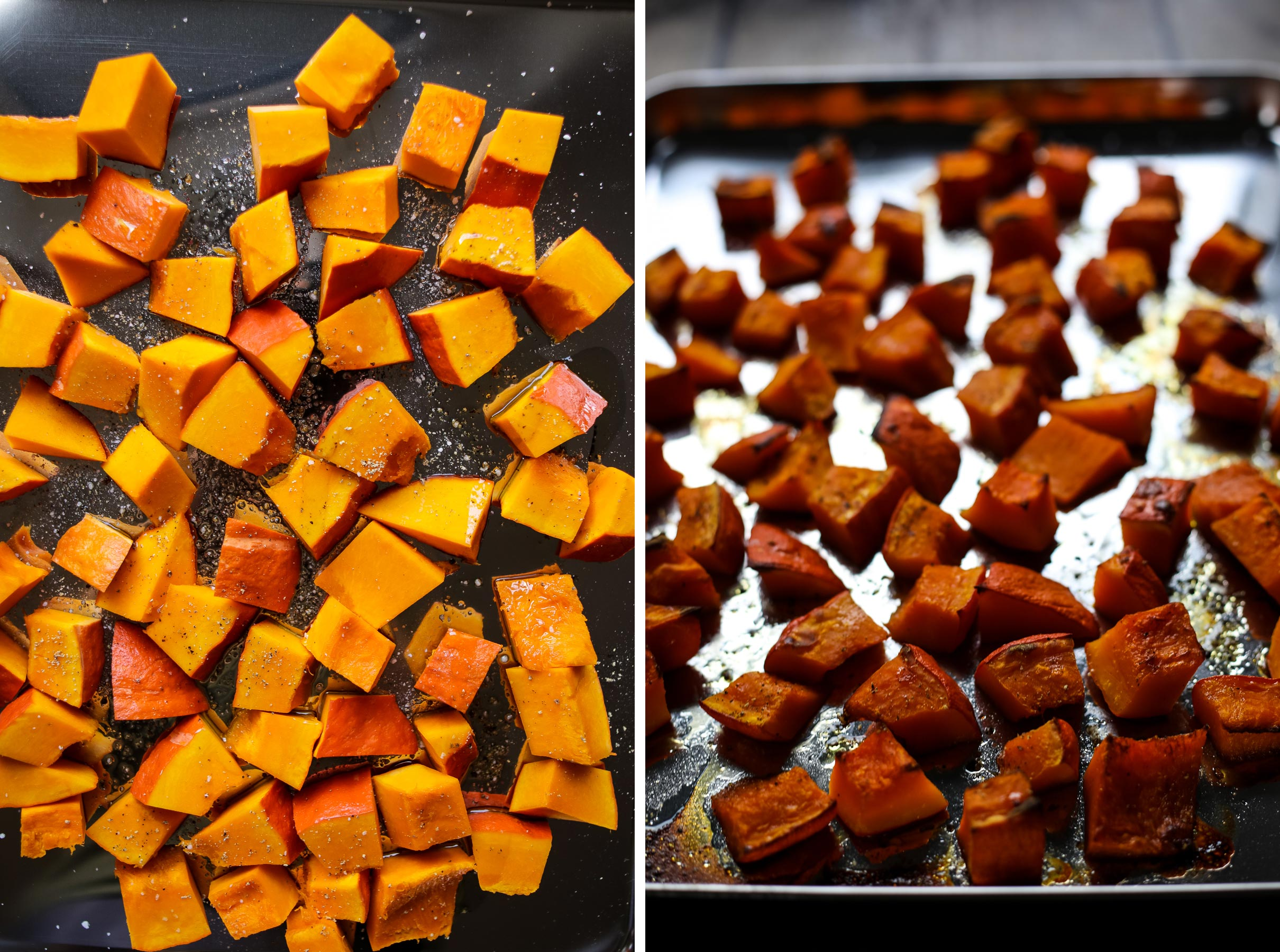 Baked pumpkin chunks.