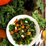 Kale Pumpkin Salad with Feta and Pesto Dressing - Served with Various Greens