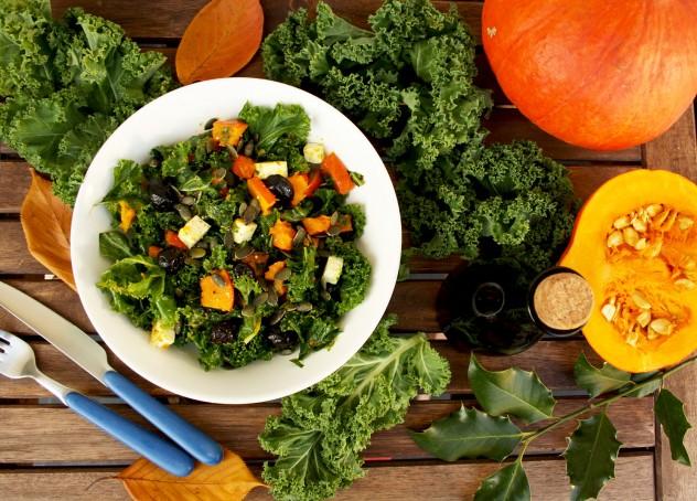 Kale Pumpkin Salad with Feta and Pesto Dressing - Beautiful Fall Meal Ingredients