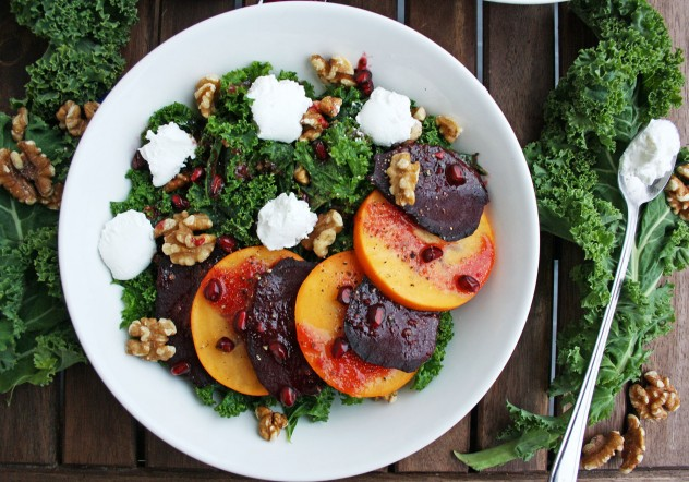Beetroot Salad with Persimmon, Kale, Goat Cheese and Walnuts: Nutritious, delicious and flavorful 10 minutes salad. Perfect for a healthy fall lunch!