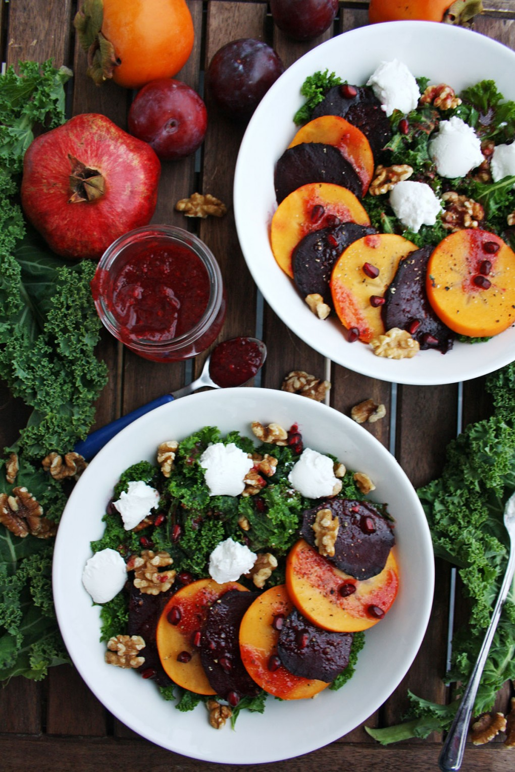 Persimmon Beet Salad with Goat Cheese and Kale