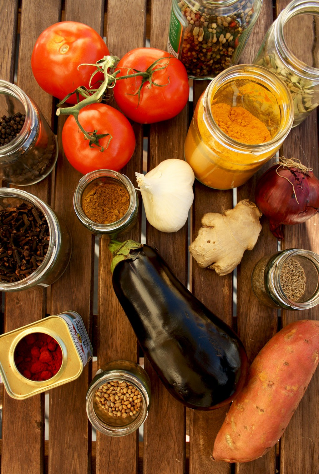 Ingredients for Roasted Eggplant Sweet Potato Curry