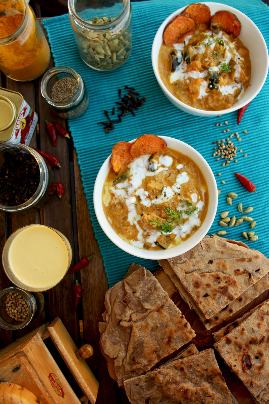 Eggplant Sweet Potato Curry in Bowls with Paratha