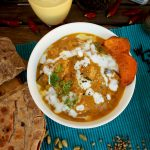 Roasted Eggplant and Sweet Potato Indian Curry with Cheese Paratha Flat-Bread - wholesome and flavorful seasonal vegetarian curry. Perfect to make ahead!