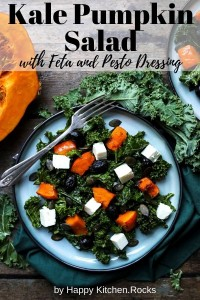 Kale Salad with Roasted Pumpkin Pinterest Image.