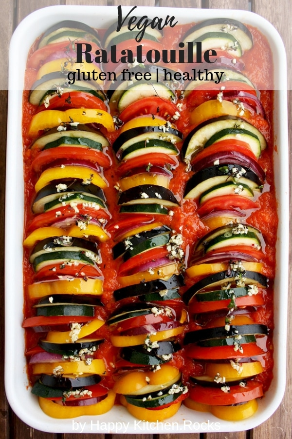 Ratatouille: delicious and spectacular vegan gluten-free dish that will be a star of any table. Healthy, flavorful, impressive looking and comforting dish. #glutenfree #veganrecipes #vegan #vegetables #ratatouille