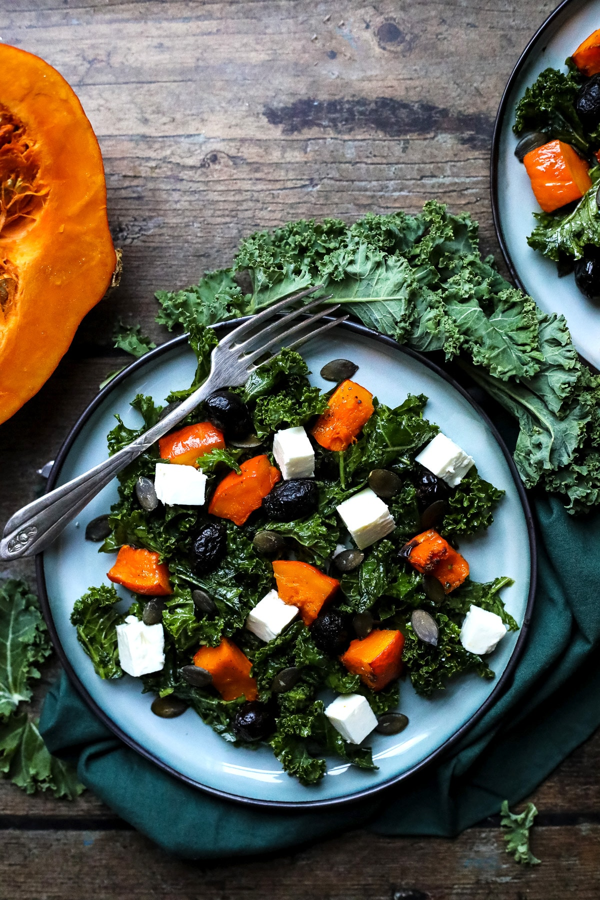 Roasted Pumpkin Salad with Kale on a Plate.