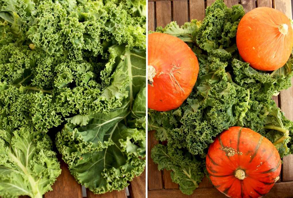 Kale Pumpkin Salad with Feta and Pesto Dressing - Greens and Hokkaido Pumpkin Collage of Two Images