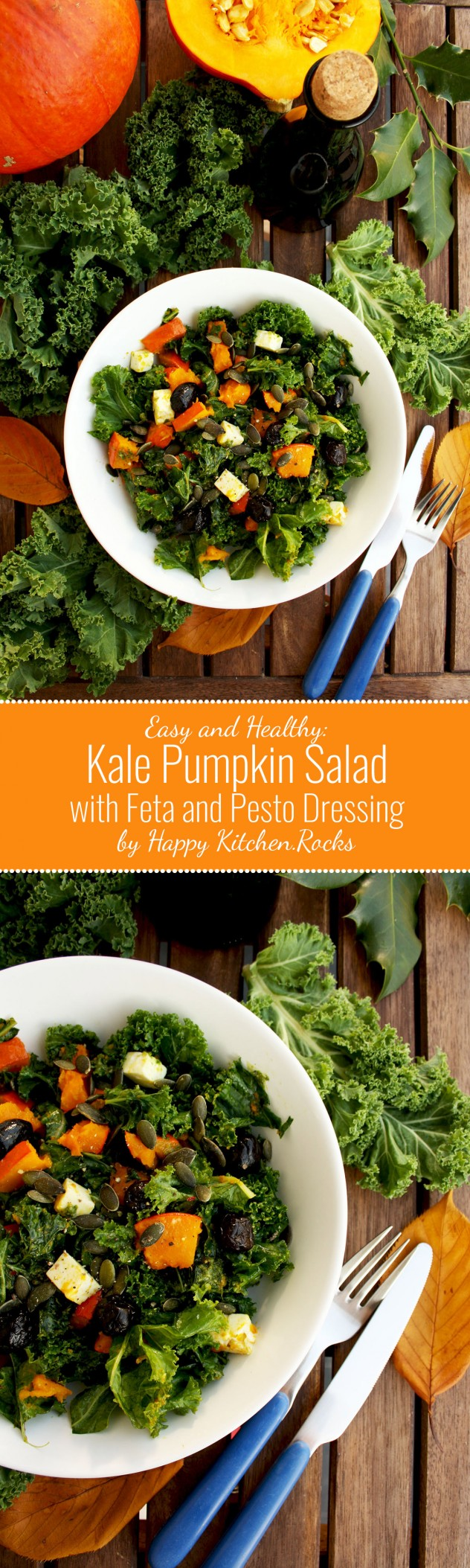 Kale Pumpkin Salad with Feta and Pesto Dressing - Super Long Collage of Two Images and Text Overlay