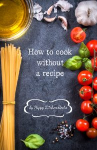 Cooking concept with food ingredients and blank space in the middle