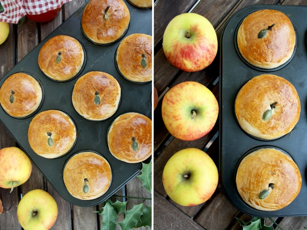 Russian Apple Cinnamon Cupcakes: Tasty and adorable Russian yeast cupcakes with apples, cinnamon and apple pie spices. Great alternative to usual cupcakes
