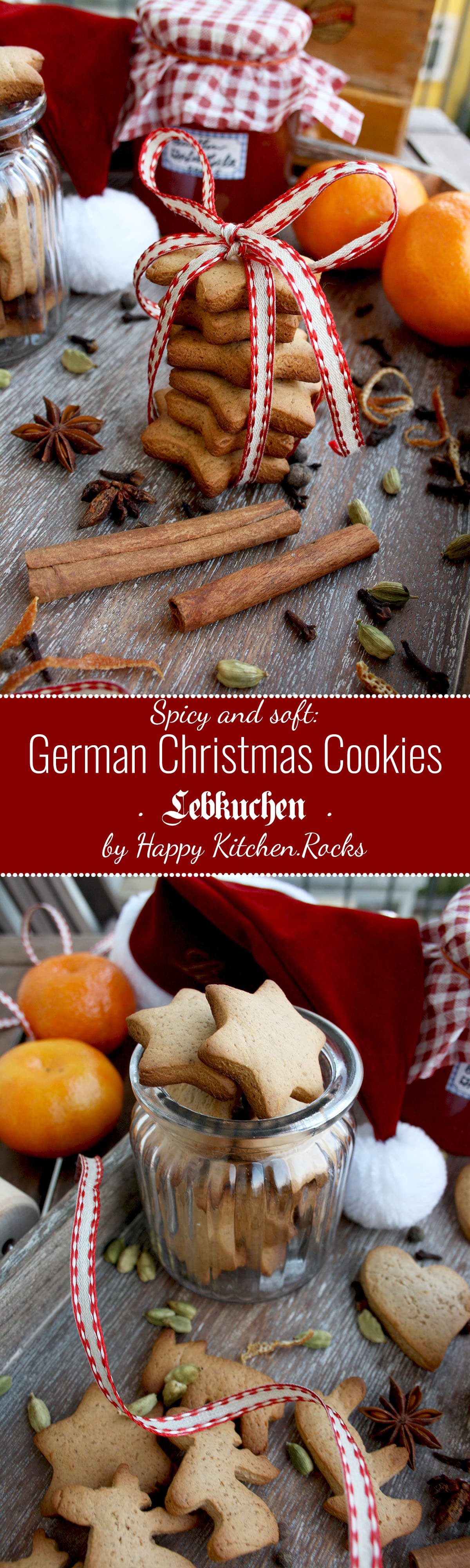 German Christmas Cookies - Lebkuchen - Super Long Collage of Two Images and Text Overlay