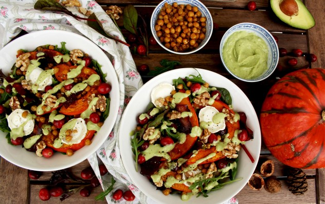 Colorful and healthy Warm Winter Salad with Pumpkin, Goat Cheese, Cranberries and Avocado Dressing. Comforting and easy holiday meal ready in 30 minutes!