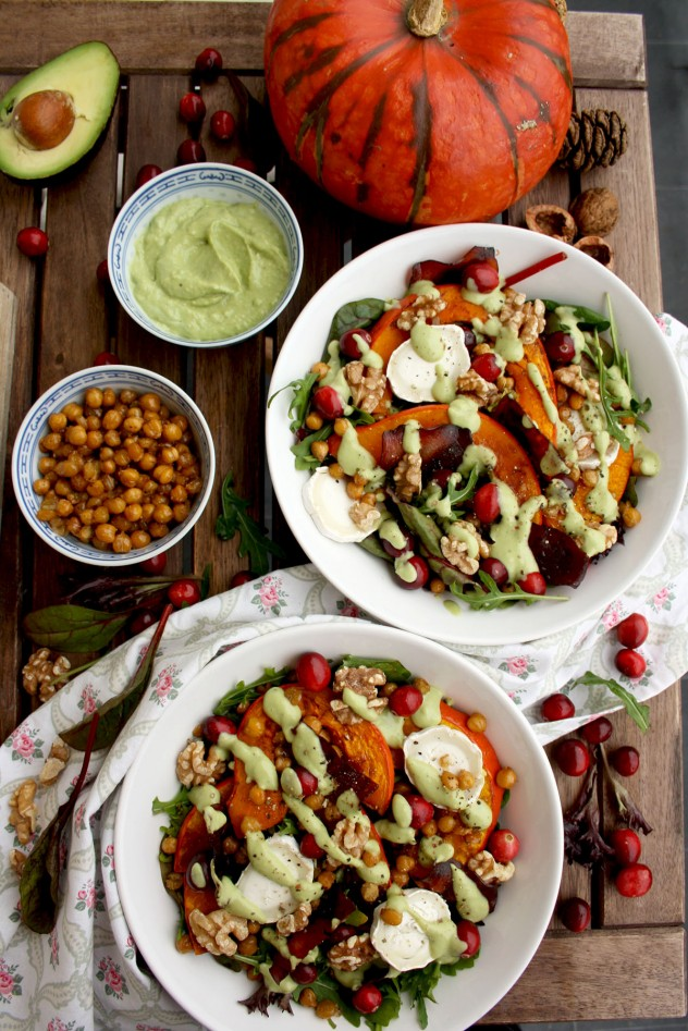 Colorful and healthy Warm Winter Salad with Pumpkin, Goat Cheese, Cranberries and Avocado Dressing. Comforting, delicious and easy holiday meal ready in 30 minutes!