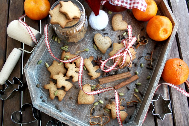 German Christmas Cookies - Lebkuchen - In the Tray with Baking Tools