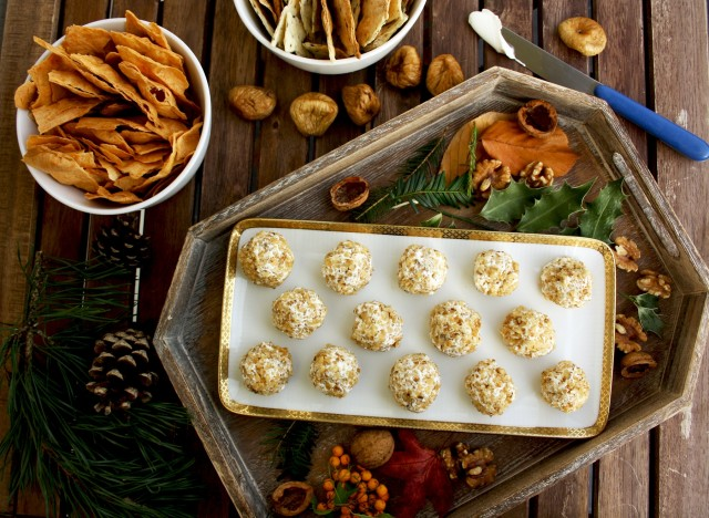 Mini Cheese Balls with Pine Nuts on a Plate