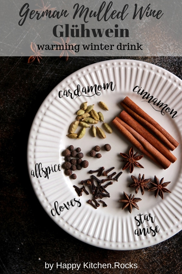 Spices for German Mulled Wine Gluhwein Collage with Text Overlay