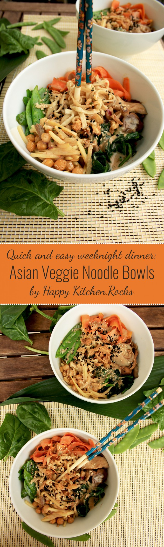 Asian Veggie Noodle Bowls: Veggie-packed flavorful dinner which is really quick to throw together and so much better than takeout! Use any veggies you like.