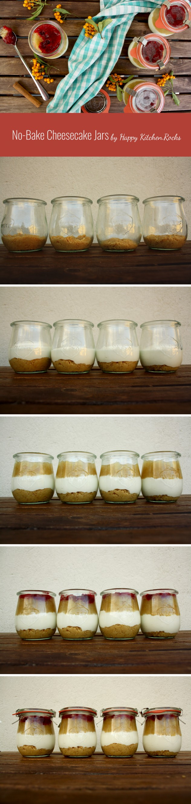 No-Bake Cheesecake Jars which are impressive, healthy, quick and easy to make. Make them ahead for any occasion, eat right away or take them with you.