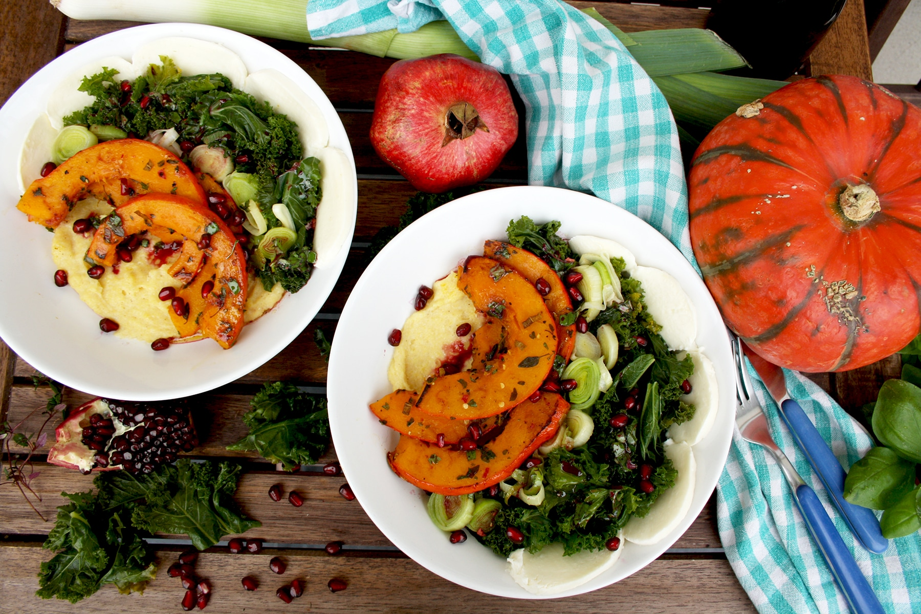pumpkin and kale with creamy polenta + 14 more meatless monday