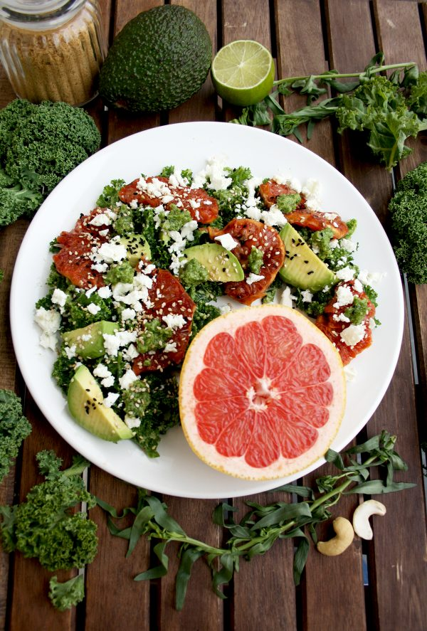 This detox kale salad with pesto dressing is designed to revitalize you and to make you feel good! It's also delicious, refreshing and easy to make.