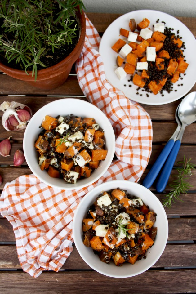 Roasted Sweet Potatoes with Beluga Lentils and Feta Cheese: Easy, healthy, gluten-free and comforting vegetarian dinner with minimum efforts!