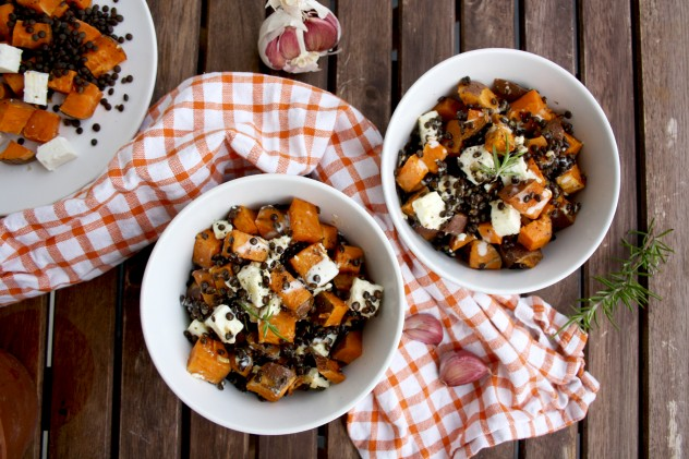 Roasted Sweet Potatoes With Beluga Lentils And Feta Cheese Happy Kitchen