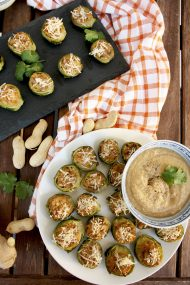 Stuffed Brussels Sprouts with Creamy Peanut Miso Dip: The best you can do with Brussels sprouts. Fantastic finger food recipe for any occasion.